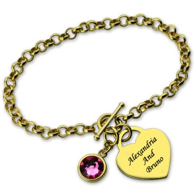 Engravable Birthstone Bracelet with Heart  Name Charm 18ct Gold Plate  - Name My Jewelry ™