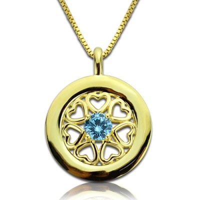 personalized Hearts Around Necklace with Birthstone 18ct Gold Plated  - Name My Jewelry ™