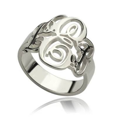personalized Fancy Monogram Ring Sterling Silver - Name My Jewelry ™