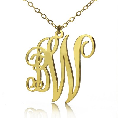 Personailzed Vine Font 2 Initial Monogram Necklace 18ct Gold Plated - Name My Jewelry ™