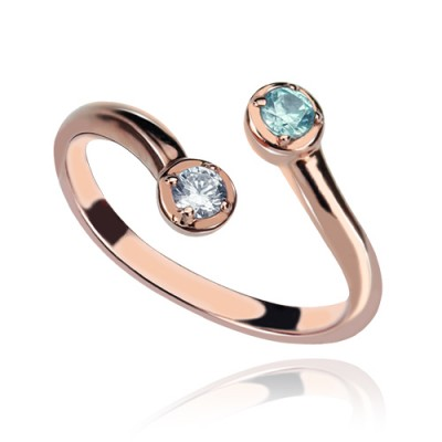 Dual Drops Birthstone Ring 18ct Rose Gold Plated  - Name My Jewelry ™