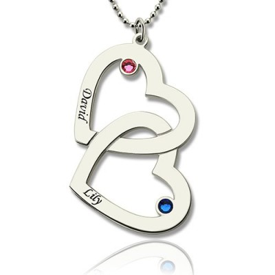 Double Heart Necklace with Name  Birthstones Sterling Silver  - Name My Jewelry ™