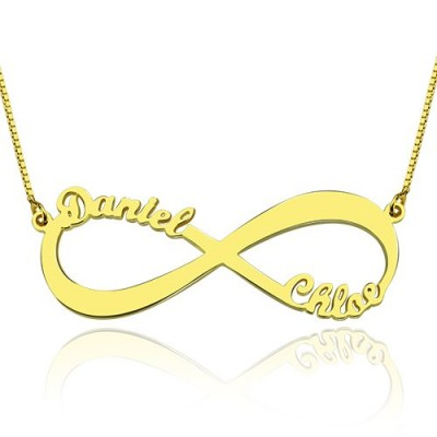18ct Gold Plated Infinity Necklace Double Name - Name My Jewelry ™