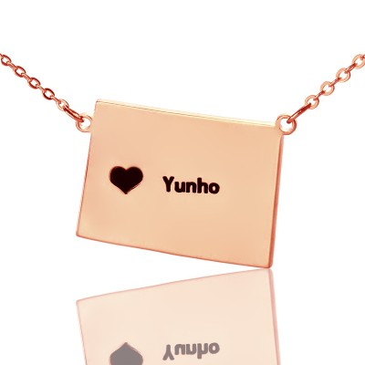 Wyoming State Shaped Map Necklaces With Heart  Name Rose Gold - Name My Jewelry ™