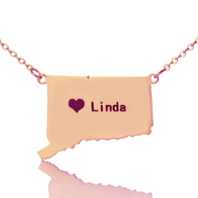 Connecticut Connecticut State Shaped Necklaces With Heart  Name Rose Gold - Name My Jewelry ™