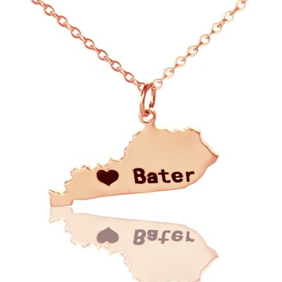 Custom Kentucky State Shaped Necklaces With Heart  Name Rose Gold - Name My Jewelry ™
