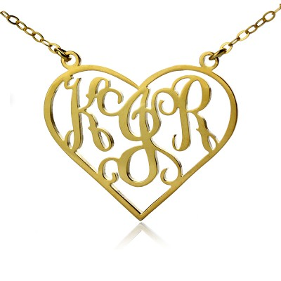 Solid Gold Initial Monogram personalized Heart Necklace - Name My Jewelry ™