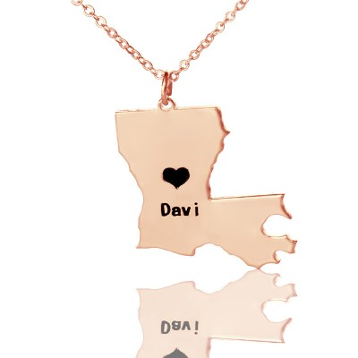 Custom Louisiana State Shaped Necklaces With Heart  Name Rose Gold - Name My Jewelry ™
