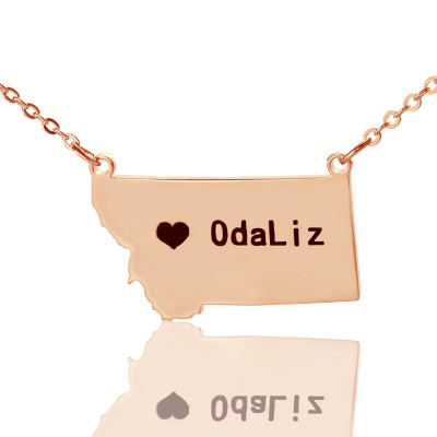 Custom Montana State Shaped Necklaces With Heart  Name Rose Gold - Name My Jewelry ™