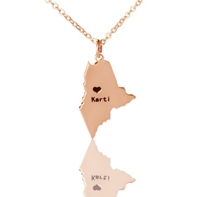 Custom Maine State Shaped Necklaces With Heart  Name Rose Gold - Name My Jewelry ™