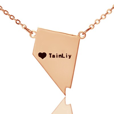 Custom Nevada State Shaped Necklaces With Heart  Name Rose Gold - Name My Jewelry ™