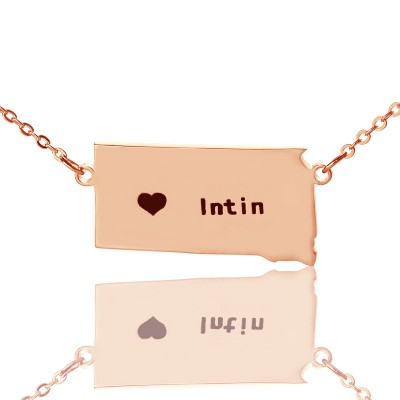 South Dakota State Shaped Necklaces With Heart  Name Rose Gold - Name My Jewelry ™