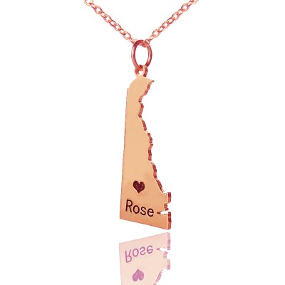Custom Delaware State Shaped Necklaces With Heart  Name Rose Gold - Name My Jewelry ™