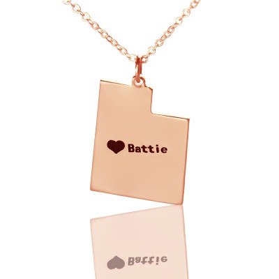 Custom Utah State Shaped Necklaces With Heart  Name Rose Gold - Name My Jewelry ™