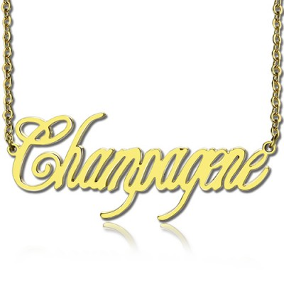 Solid Gold personalized Champagne Font Name Necklace - Name My Jewelry ™