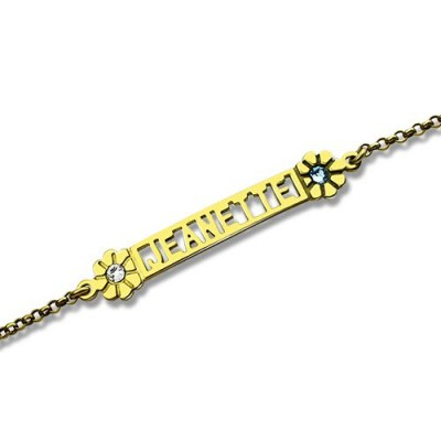 personalized Birthstone Name Bracelet for Her 18ct Gold Plated  - Name My Jewelry ™