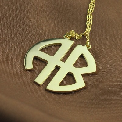 Two Initial Block Monogram Pendant 18ct Gold Plated - Name My Jewelry ™