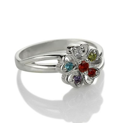 Promise Flower Ring Engraved Name  Birthstone Sterling Silver  - Name My Jewelry ™