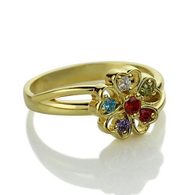 Birthstone Flower Promise Ring with Name 18ct Gold Plated  - Name My Jewelry ™