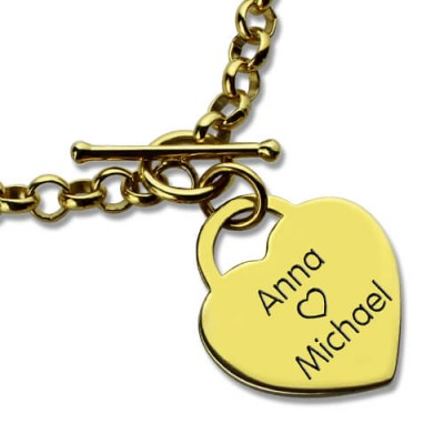 personalized Heart Name Bracelets 18ct Gold Plated - Name My Jewelry ™