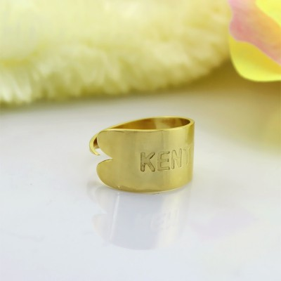18ct Gold Plated Name Engraved Cuff Rings - Name My Jewelry ™