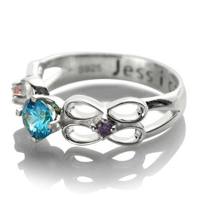 Customised Infinity Promise Ring With Name  Birthstone for Her Silver  - Name My Jewelry ™