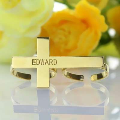Engraved Name Two finger Cross Ring 18ct Gold Plated - Name My Jewelry ™