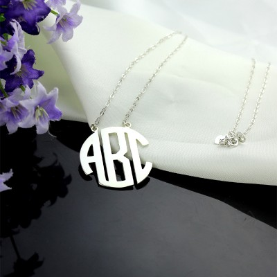 Solid White Gold 18ct Initial Block Monogram Pendant Necklace - Name My Jewelry ™