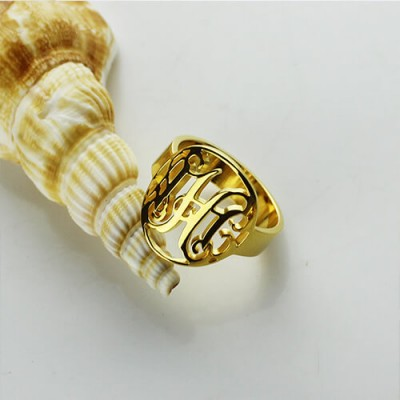 Custom Circle Cut Out Monogrammed Ring 18ct Gold Plated - Name My Jewelry ™