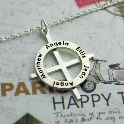Silver Latin Style Circle Cross Necklace with Any Names - Name My Jewelry ™