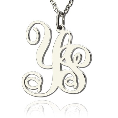 personalized Solid White Gold Vine Font 2 Initial Monogram Necklace - Name My Jewelry ™