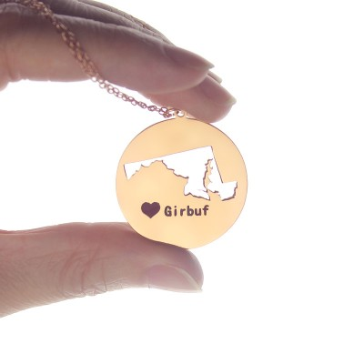 Custom Maryland Disc State Necklaces With Heart  Name Rose Gold - Name My Jewelry ™