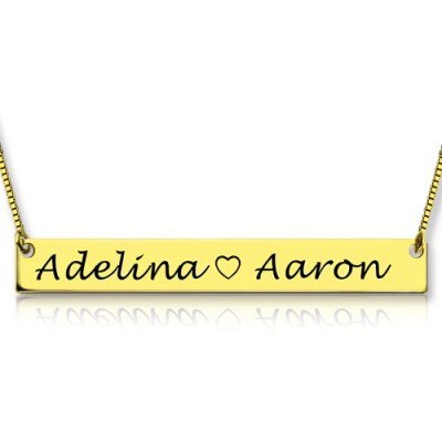 Gold Bar Necklace Engraved Double Name - Name My Jewelry ™