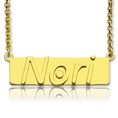 Custom Nameplate Bar Necklace 18ct Gold Plated - Name My Jewelry ™
