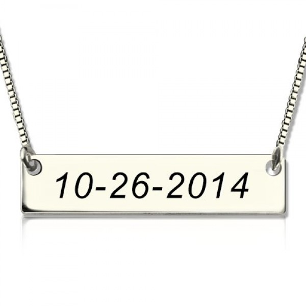 personalized Sterling Silver Date Bar Necklace - Name My Jewelry ™