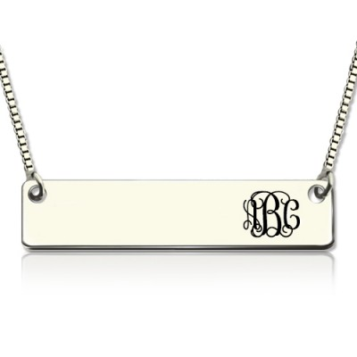 Engraved Monogram Initial Bar Necklace Sterling Silver - Name My Jewelry ™
