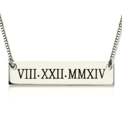 Custom Roman Numeral Bar Necklace Sterling Silver - Name My Jewelry ™