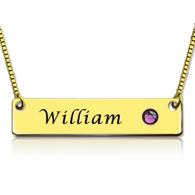 Name Bar Necklace with Birthstone 18ct Gold Plated  - Name My Jewelry ™