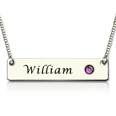 Nameplate Bar Necklace with Birthstone Silver  - Name My Jewelry ™