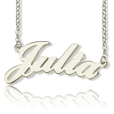 Solid 18ct White Gold Plated Julia Style Name Necklace - Name My Jewelry ™