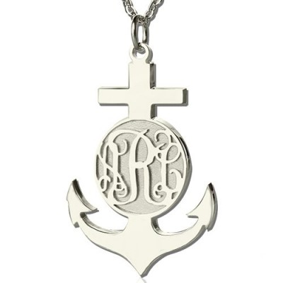 Sterling Silver Anchor Monogram Initial Necklace - Name My Jewelry ™