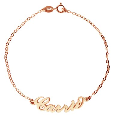 Rose Gold Plated Silver 925 Carrie Style Name Bracelet - Name My Jewelry ™
