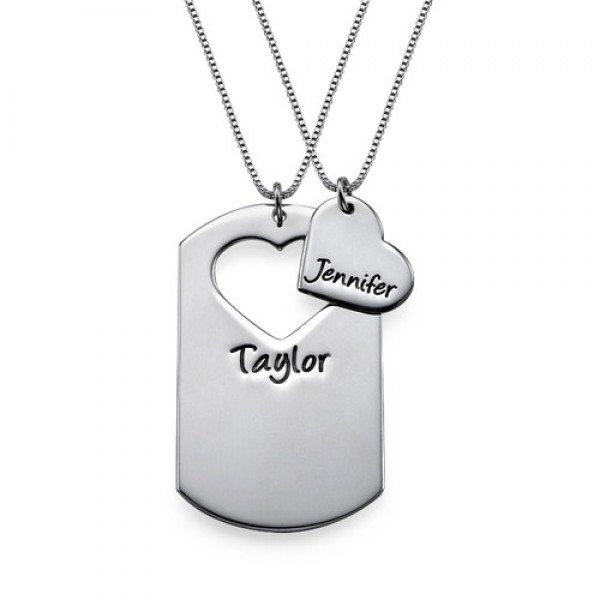 Couples Dog Tag Necklace With Cut Out Heart - Name My Jewelry ™