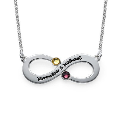 Couple's Infinity Necklace with Birthstones  - Name My Jewelry ™