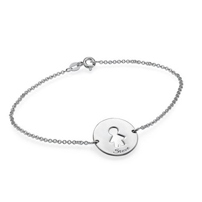 Cut Out Mum Bracelet/Anklet in Sterling Silver - Name My Jewelry ™