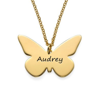 Engraved 18ct Gold Plated Pendant - Butterfly - Name My Jewelry ™