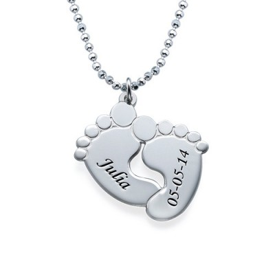 Engraved Baby Feet Necklace in Sterling Silver - Name My Jewelry ™