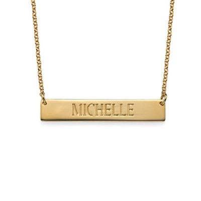 Engraved Bar Necklace in Gold Plating - Name My Jewelry ™