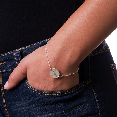 Engraved Disc Bracelet/Anklet In Sterling Silver - Name My Jewelry ™