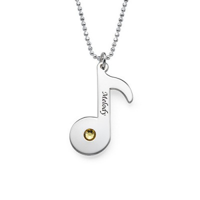 Engraved Music Note Necklace with Birthstone  - Name My Jewelry ™